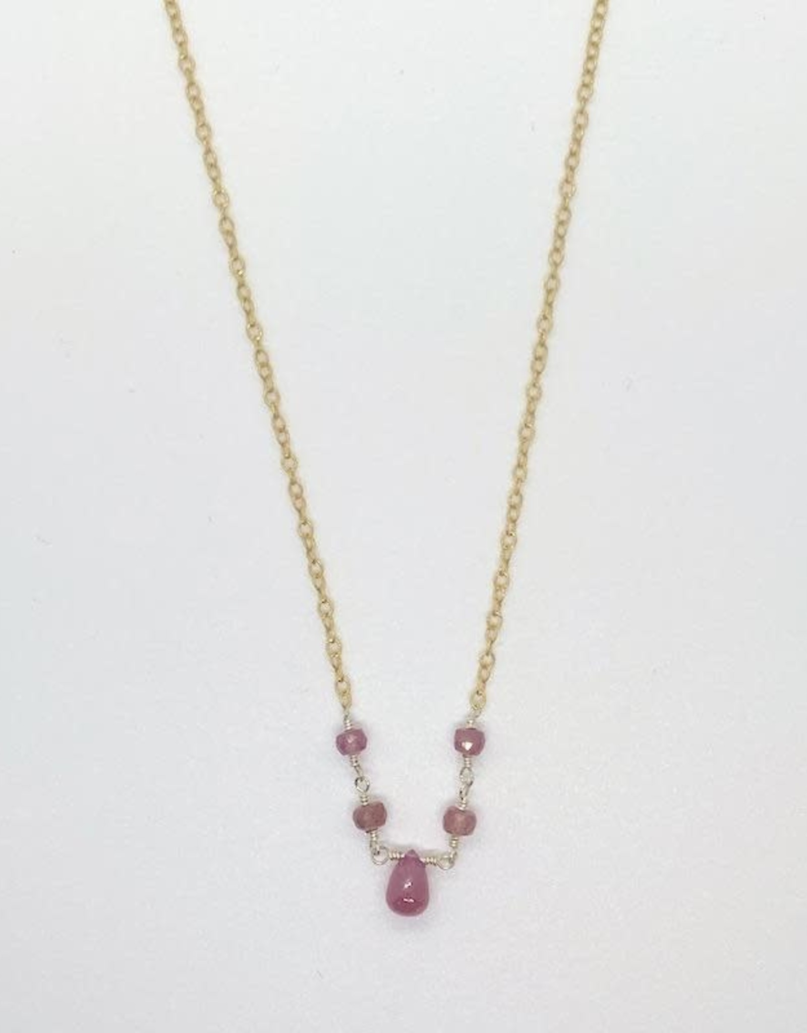 Handmade Silver Necklace with 4 ruby rondelles, 1 briolette connected, shiny wire, textured 14 k g.f. chain