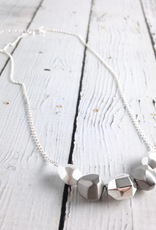 Boma Sterling Silver Matte and Shiny Pure Silver Faceted Stones Necklace