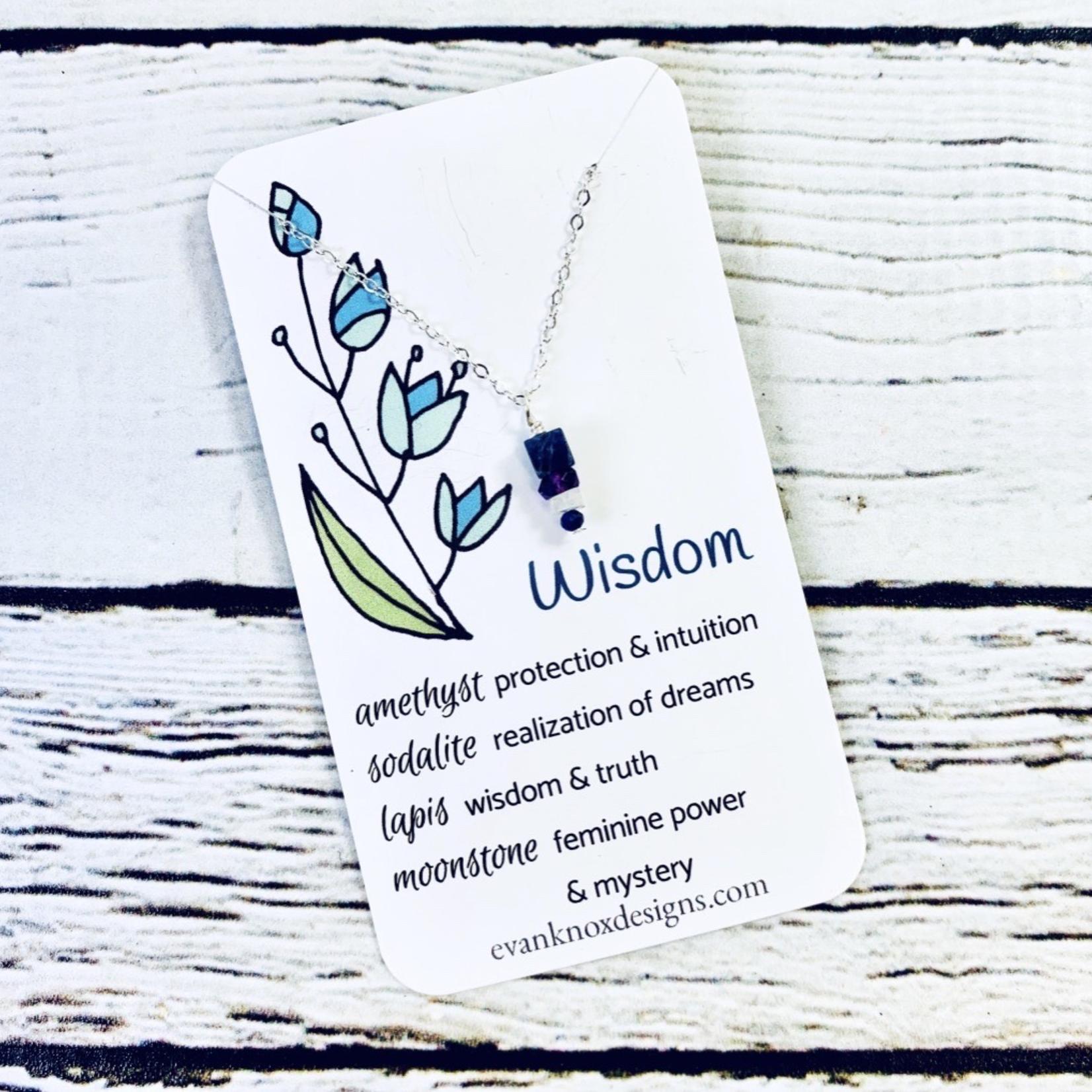 Handmade Silver Necklace with wisdom gemstones