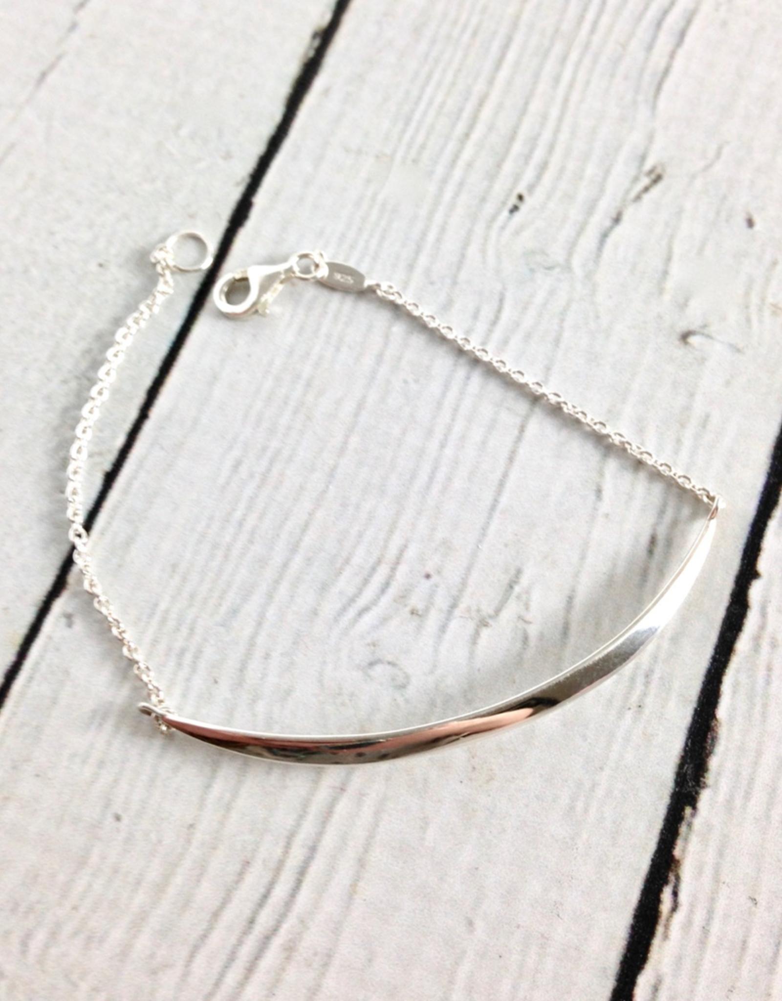 """Sterling Silver Crescent Bracelet, 7"""""""