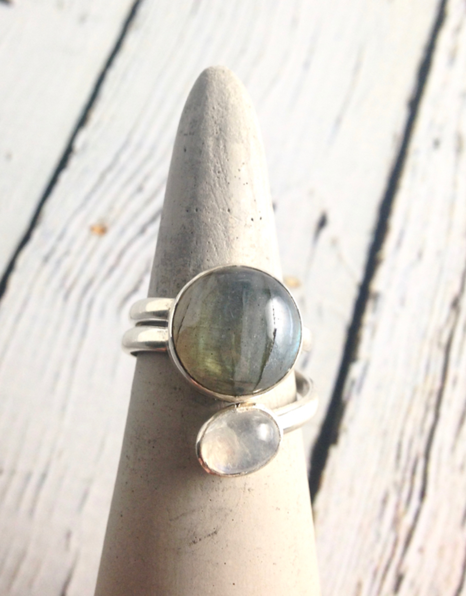 TigerMtn Sterling Silver Wrap Ring with Moonstone and Labradorite, Size 9