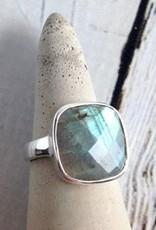 MMA Checkerboard Cut Labradorite Ring, Size 5