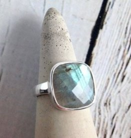 Checkerboard Cut Labradorite Ring, Size 5