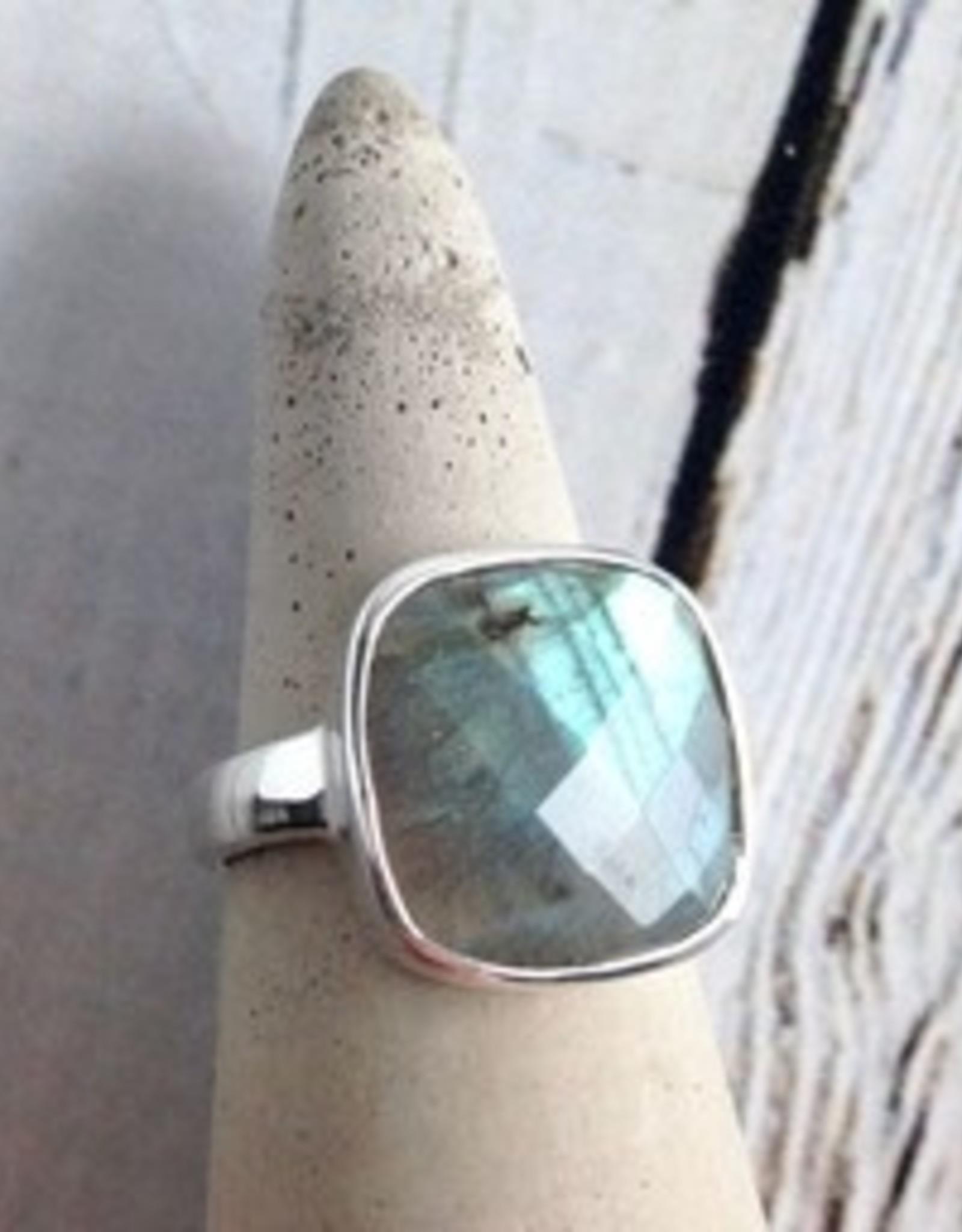 MMA Checkerboard Cut Labradorite Ring, Size 6