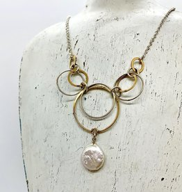 Handmade Sterling Silver Necklace with 3 graduated 14 k g.f. rings, 3 shiny, coin pearl