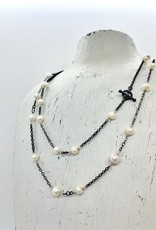 "Handmade Silver Necklace with 32"" white pearl, oxidized chain, shiny wire"