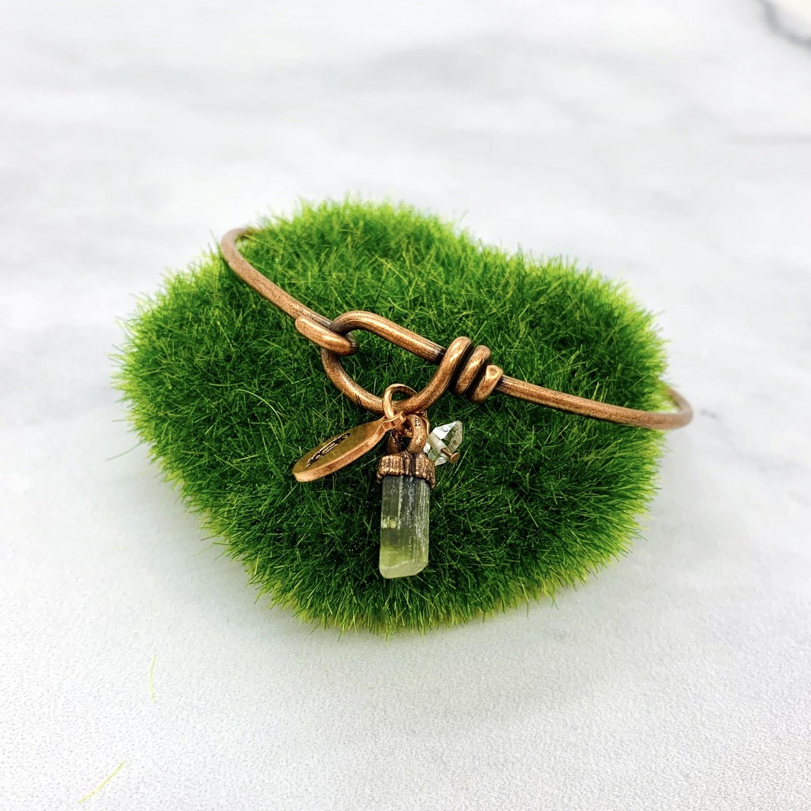Copper Bangle Bracelet with Gemstone Charm