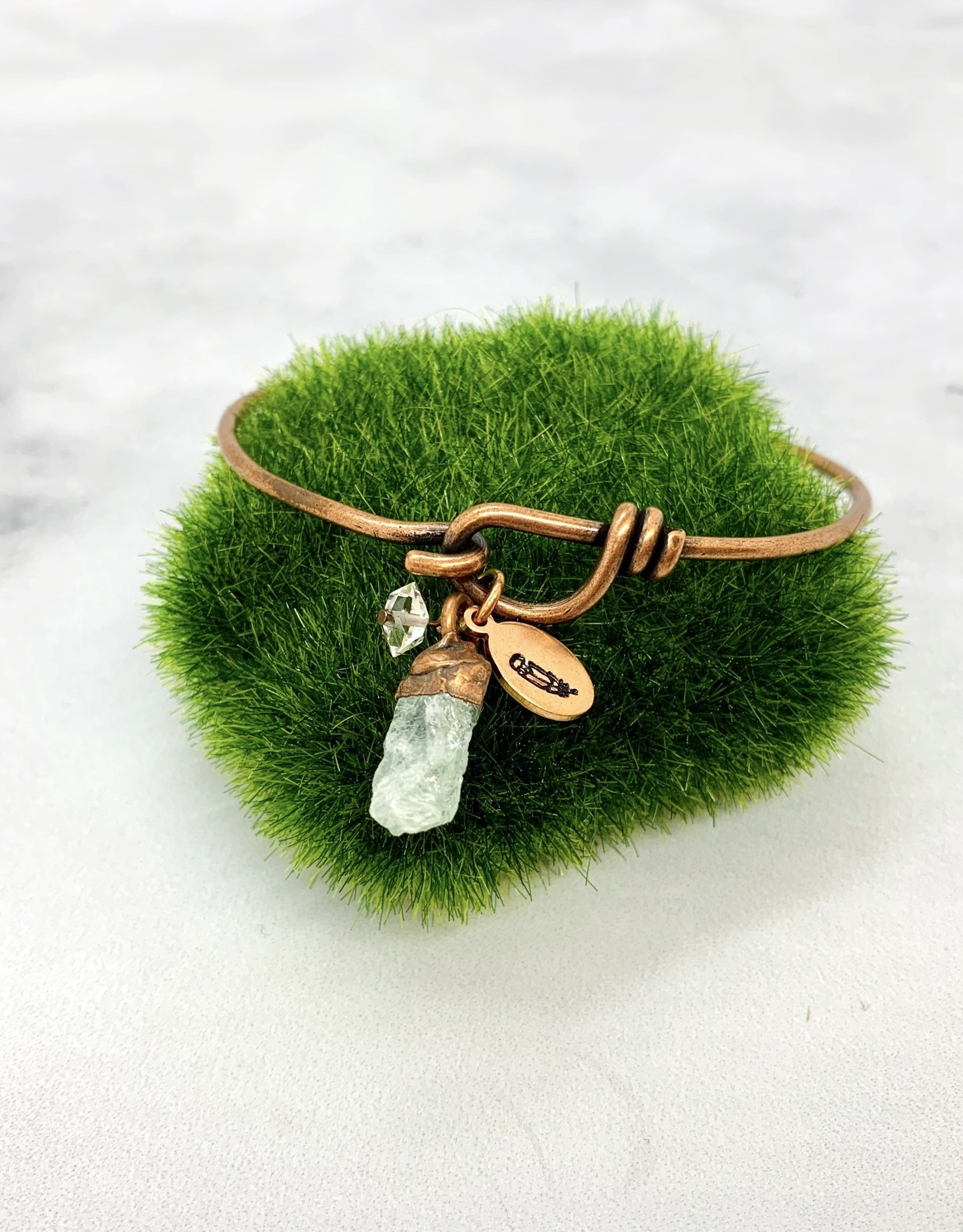 HawkHouse Copper Bangle Bracelet with Gemstone Charm