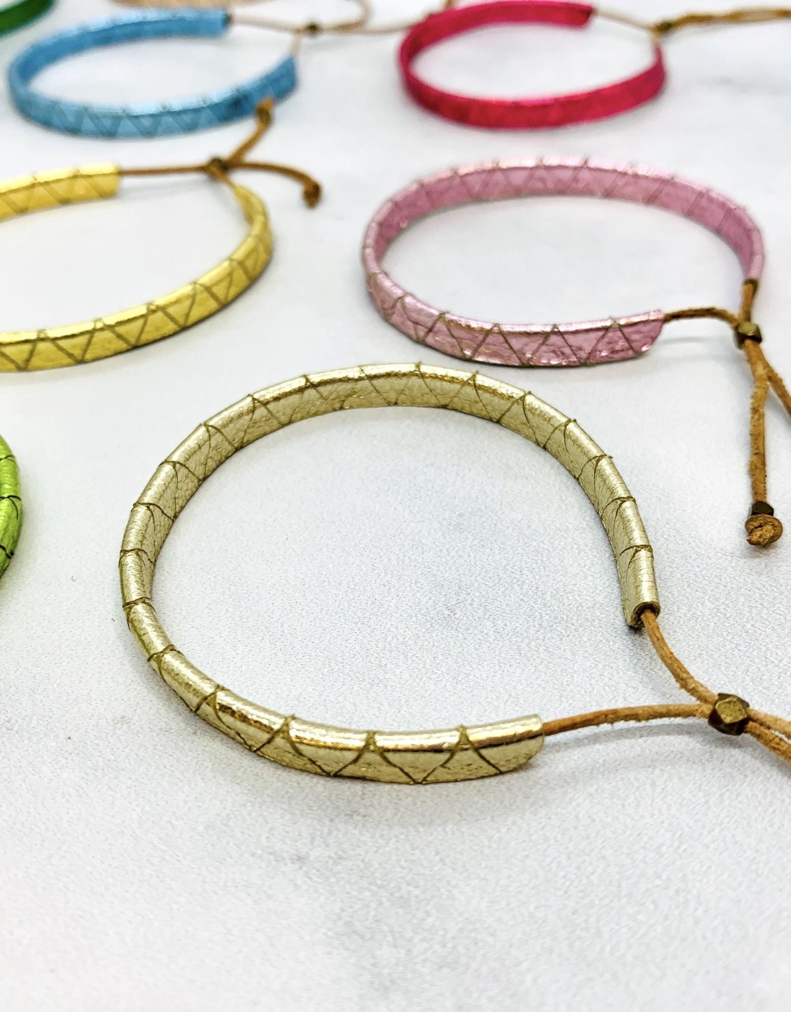 MollyM Handmade Metallic Leather Lariat Bracelet