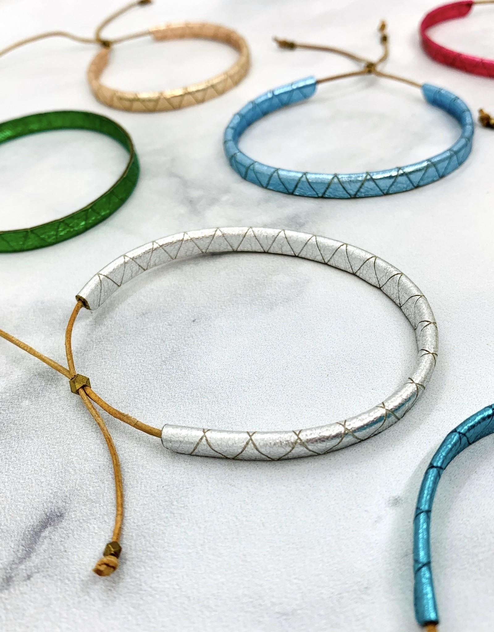 Handmade Metallic Leather Lariat Bracelet