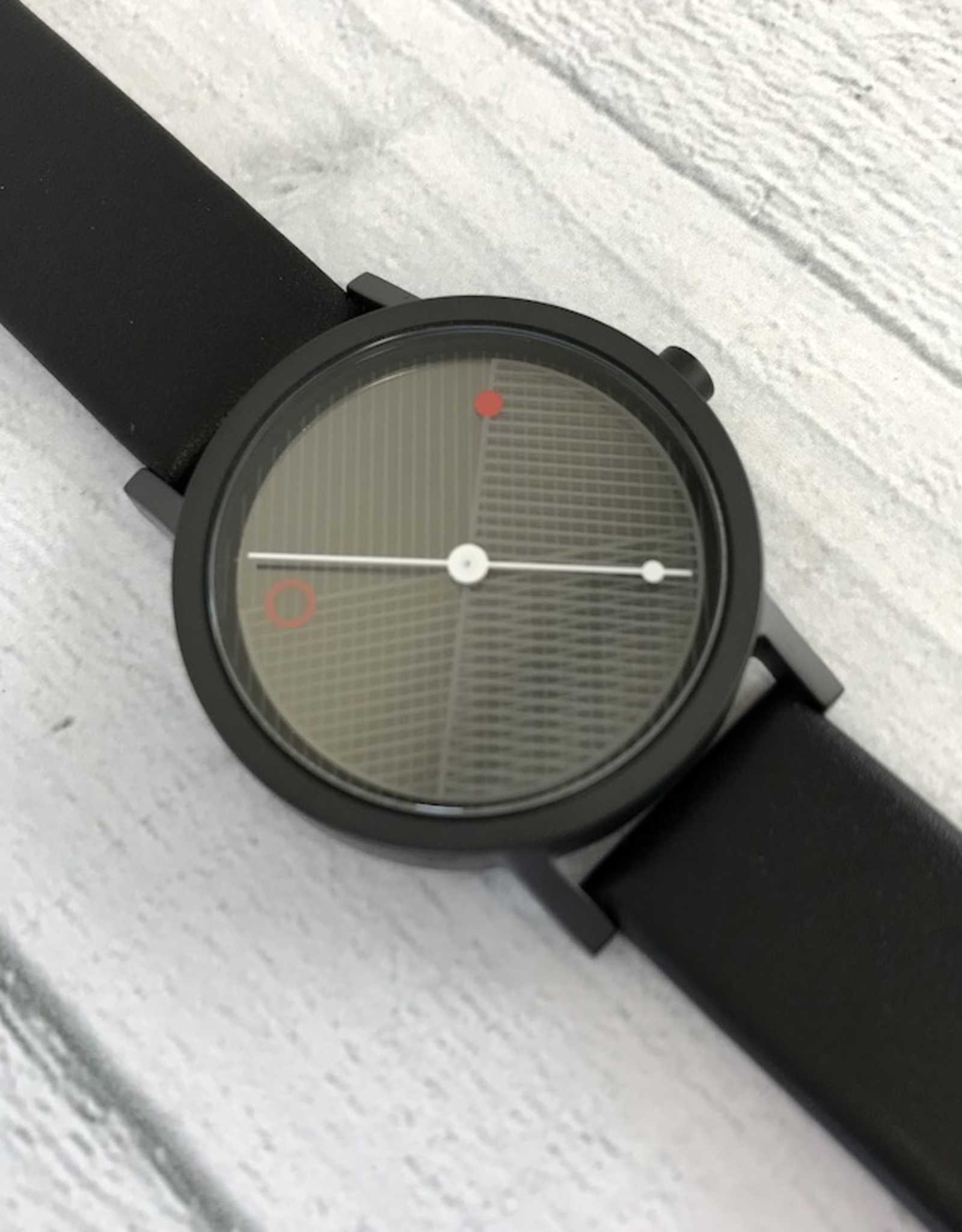 Hatch Black Watch Cross Pattern, Black Face with Black Leather Band