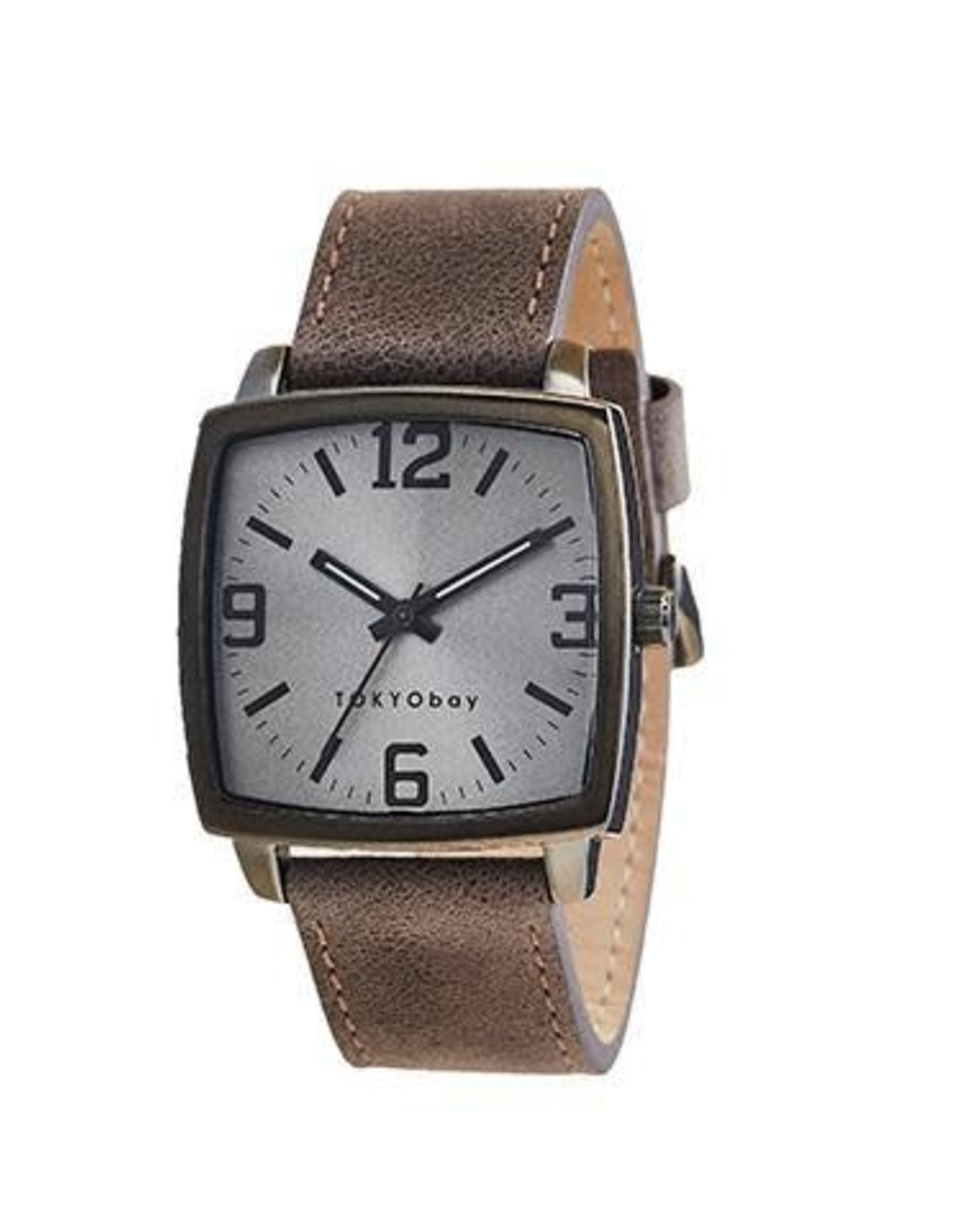 Pictor Watch, Square Silver Face with Brown Leather Strap