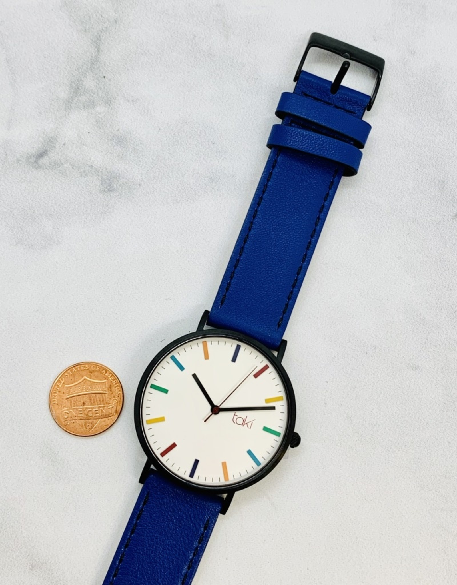 Linden Watch, White Face and Royal Blue Band with a Rainbow of indicators