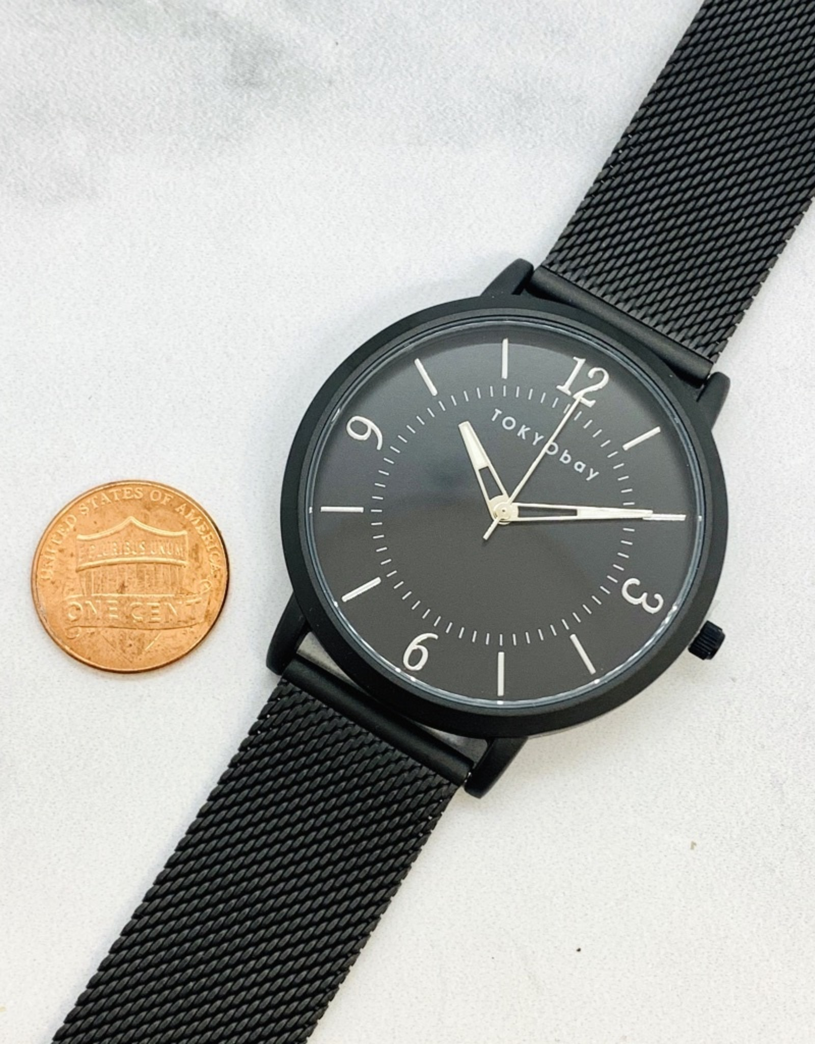 Simon Watch, Black face with dark graphite-tone metal mesh strap