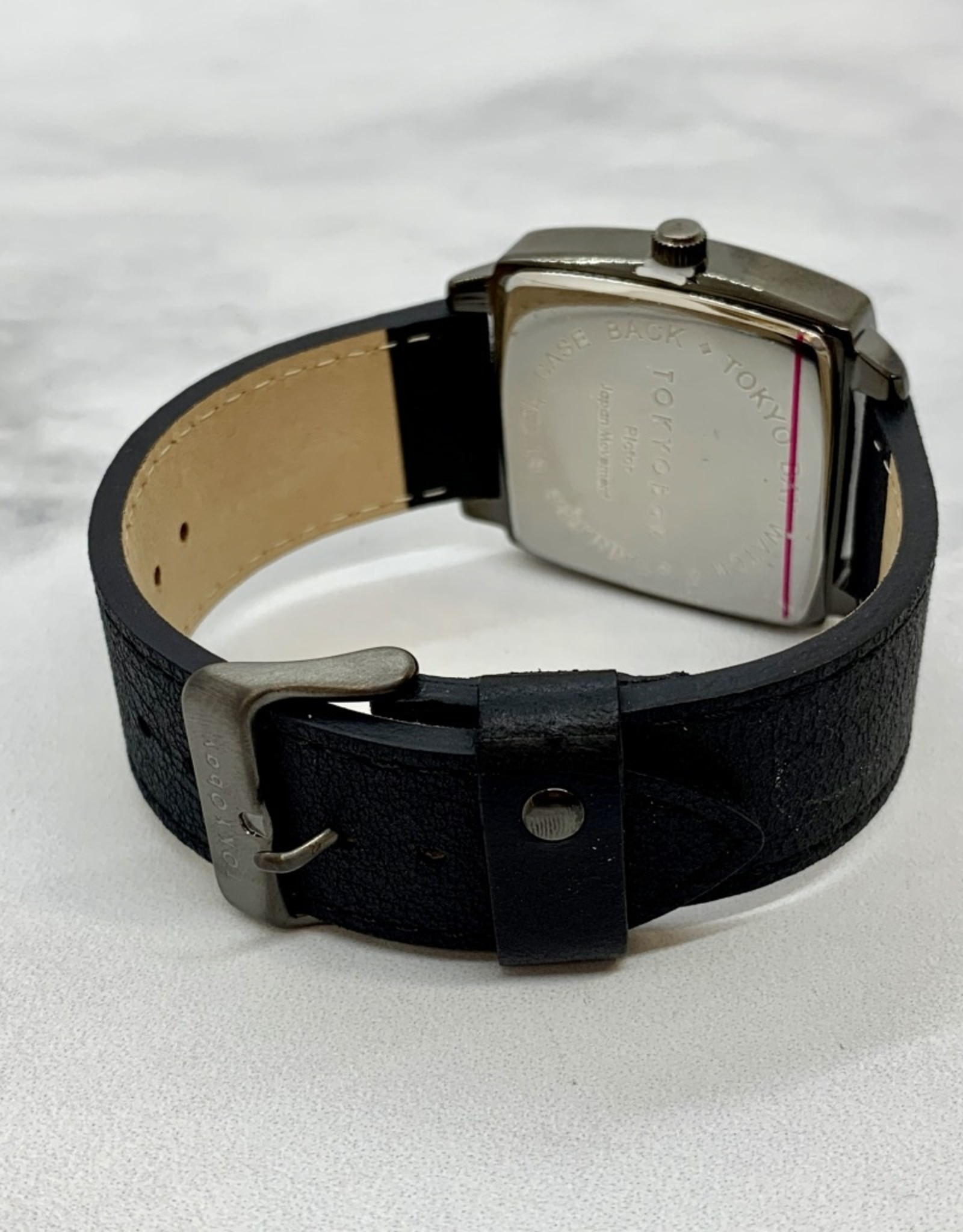 Pictor Watch, Square Black Face with Black Leather Strap