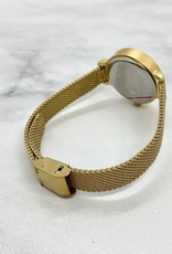 Simone Watch, Cream face with gold tone matte metal mesh strap