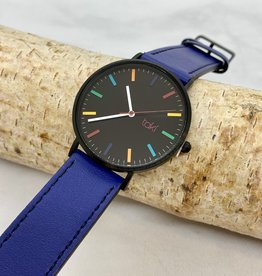 TAKI Linden Watch, Black Face and Royal Blue Band with a Rainbow of indicators
