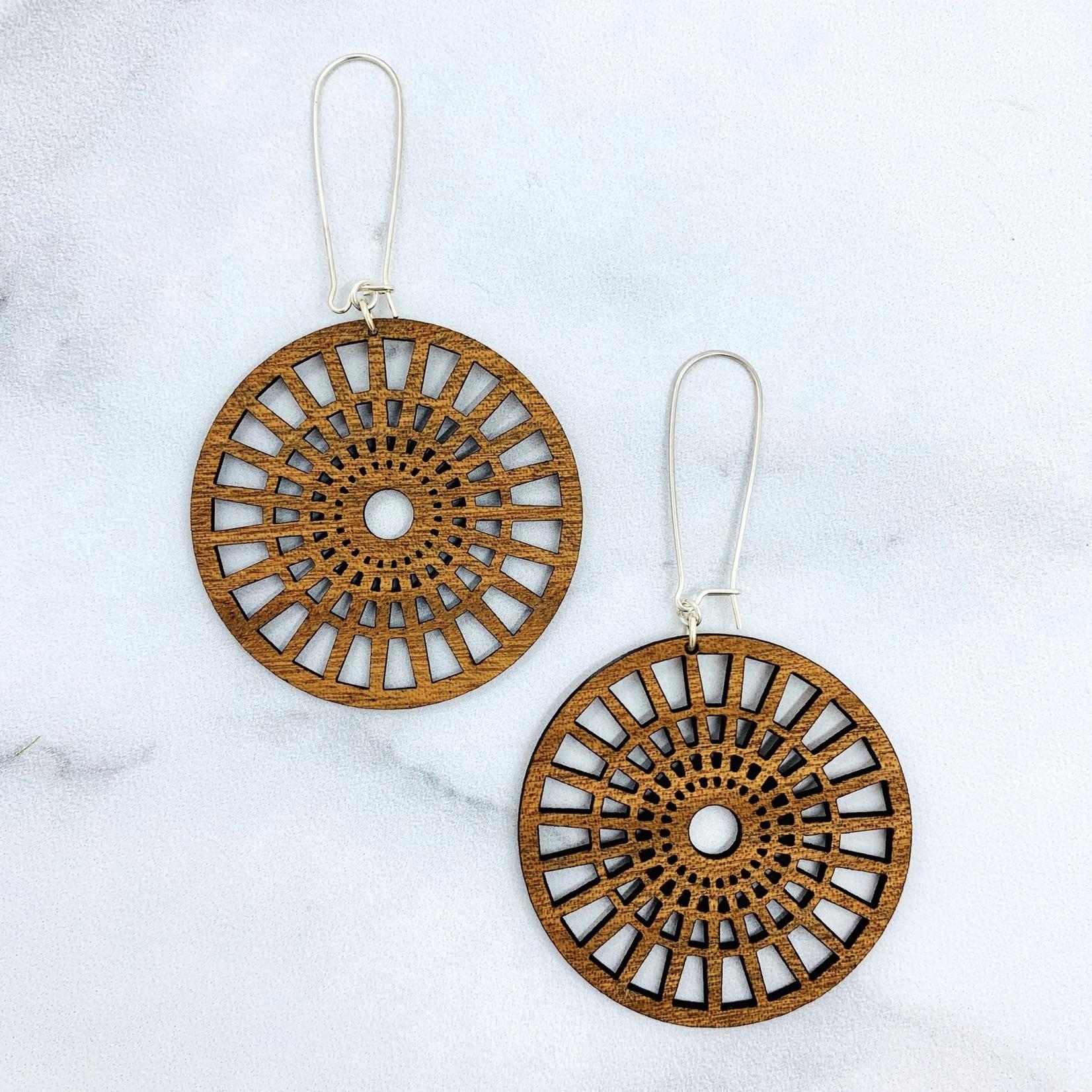 Full Circle Laser Woodcut Earrings
