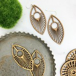 Peacock Lasercut Wood Earrings