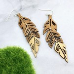 Tiered Feather Lasercut Wood Earrings
