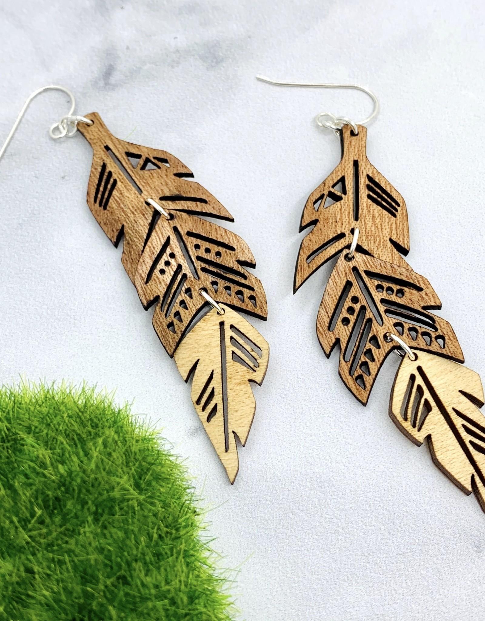 Tiered Feather Lasercut Wood Earrings