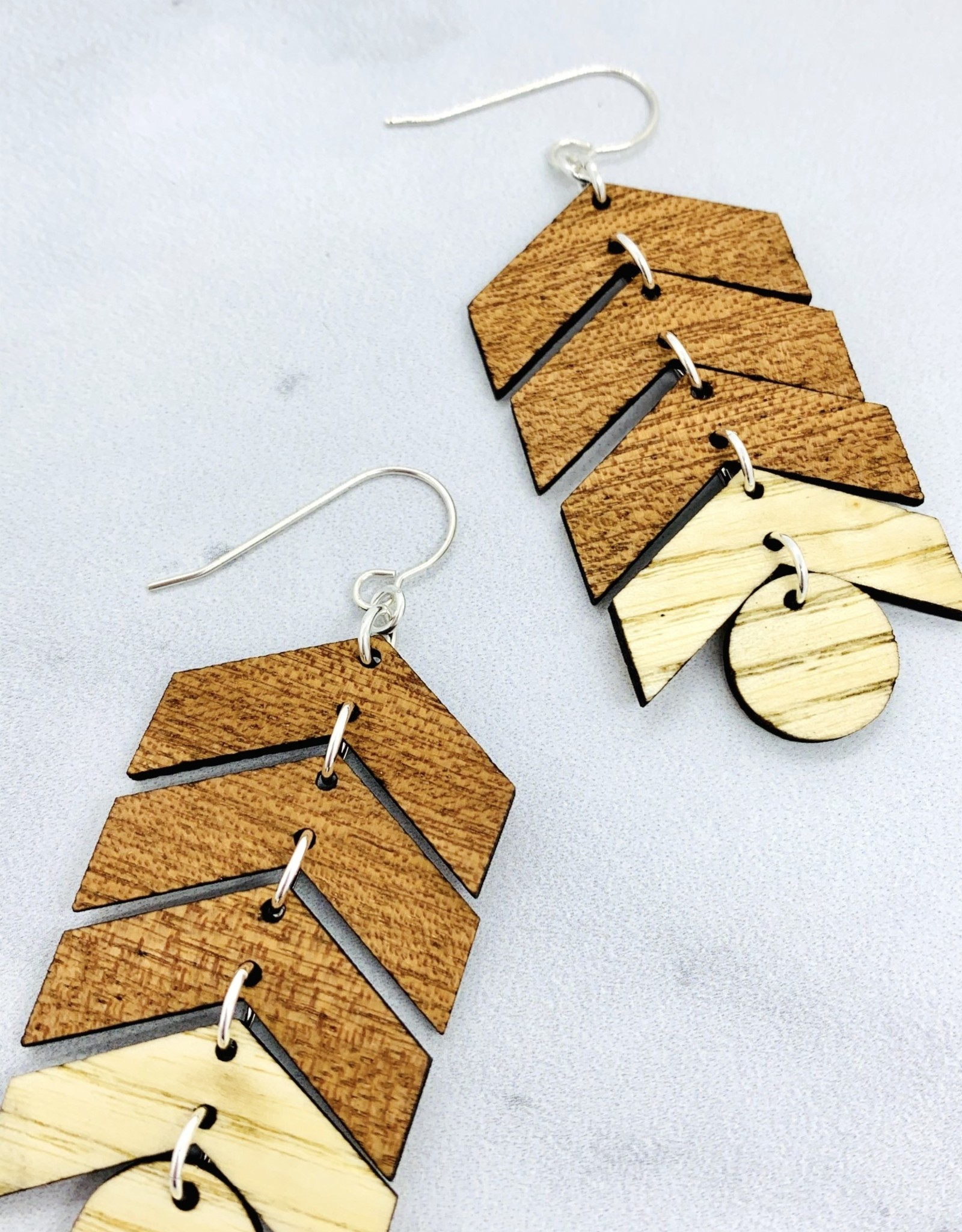 Ball & Arrow Lasercut Wood Earrings