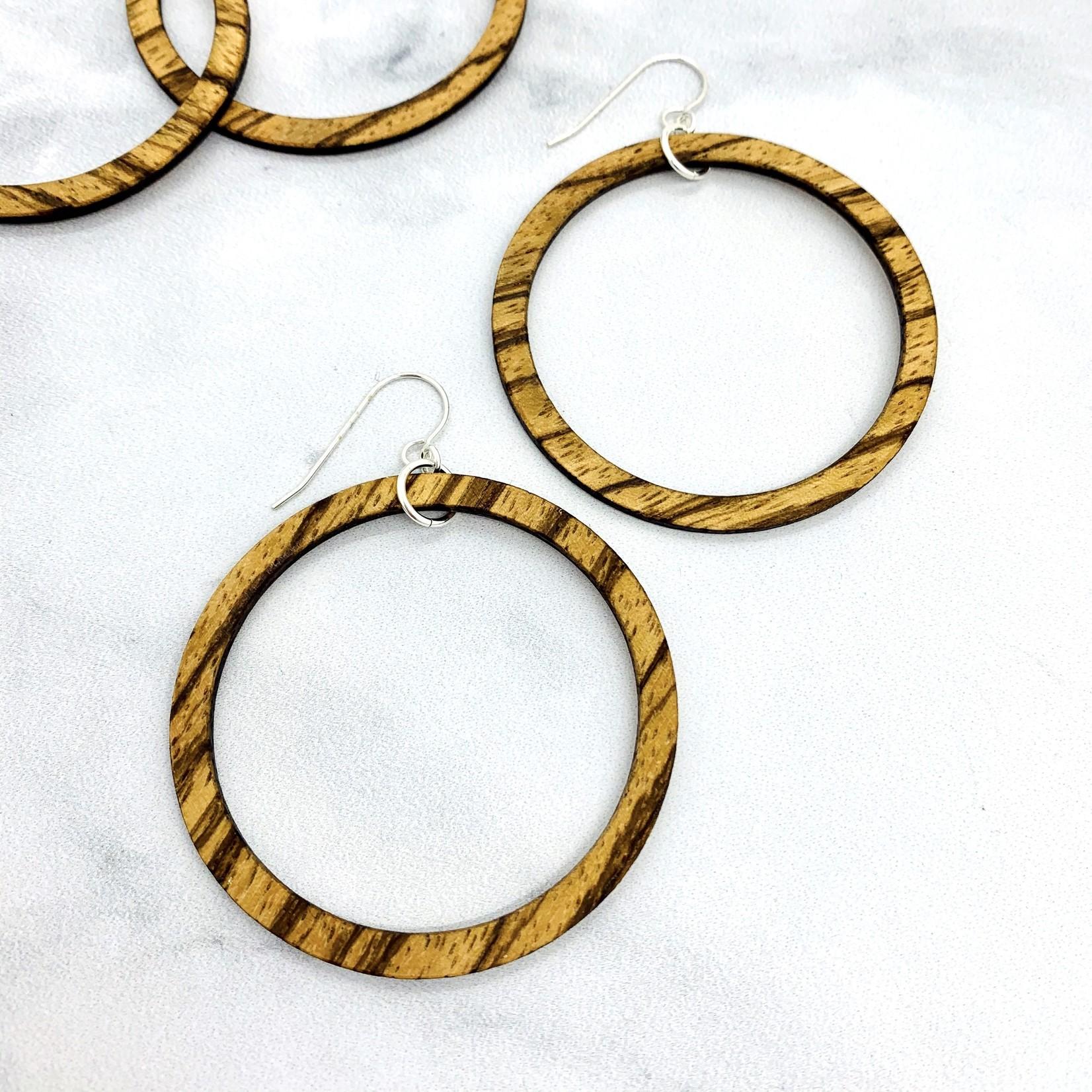 Striped Wood Hoop Earrings