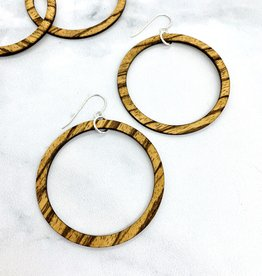 Striped Wood Hoop Earrings