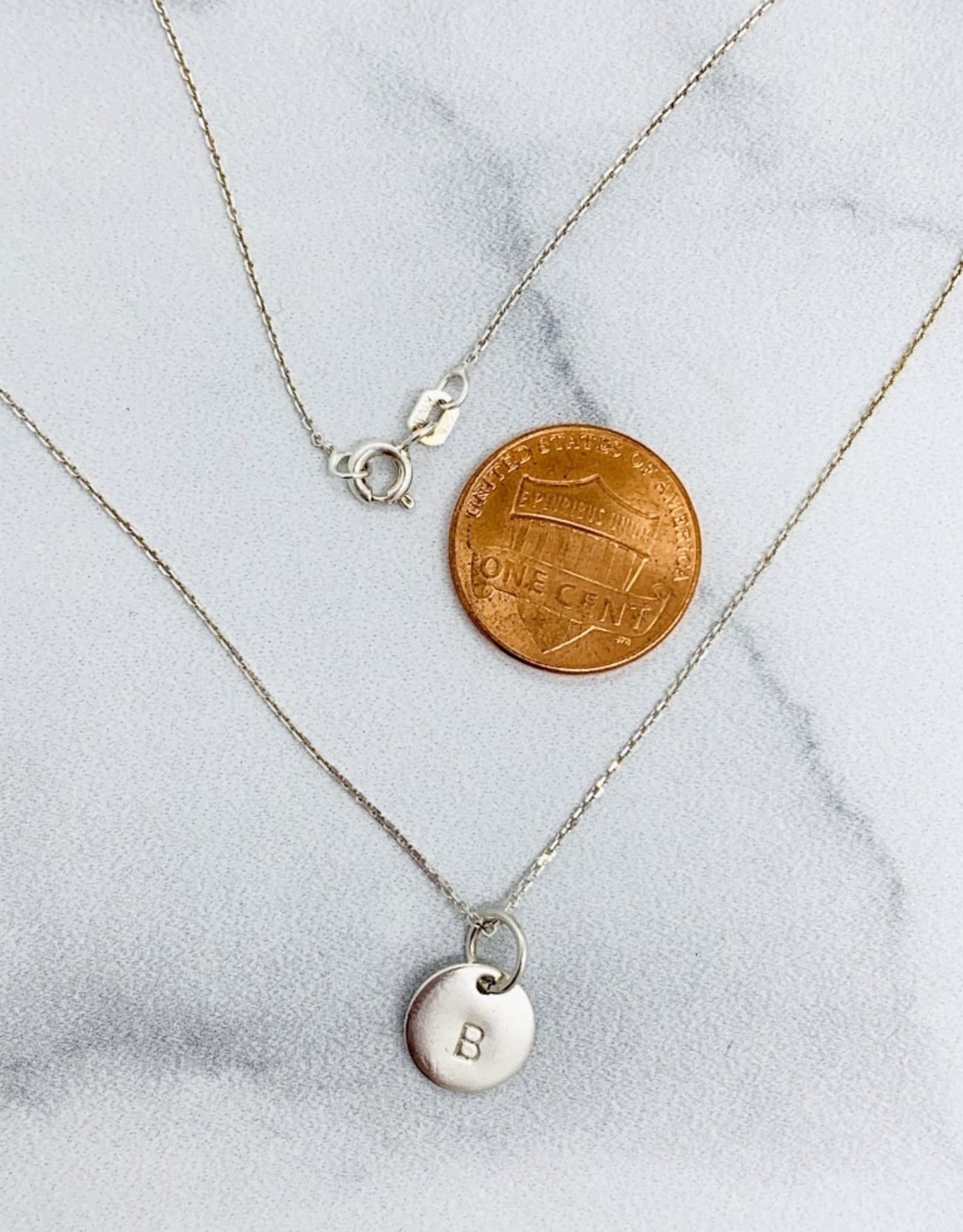 Silver Sterling Single Initial Necklace