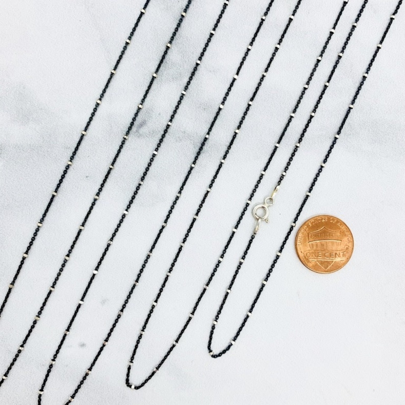 Sterling Silver Oxidized Chain with Silver Stations