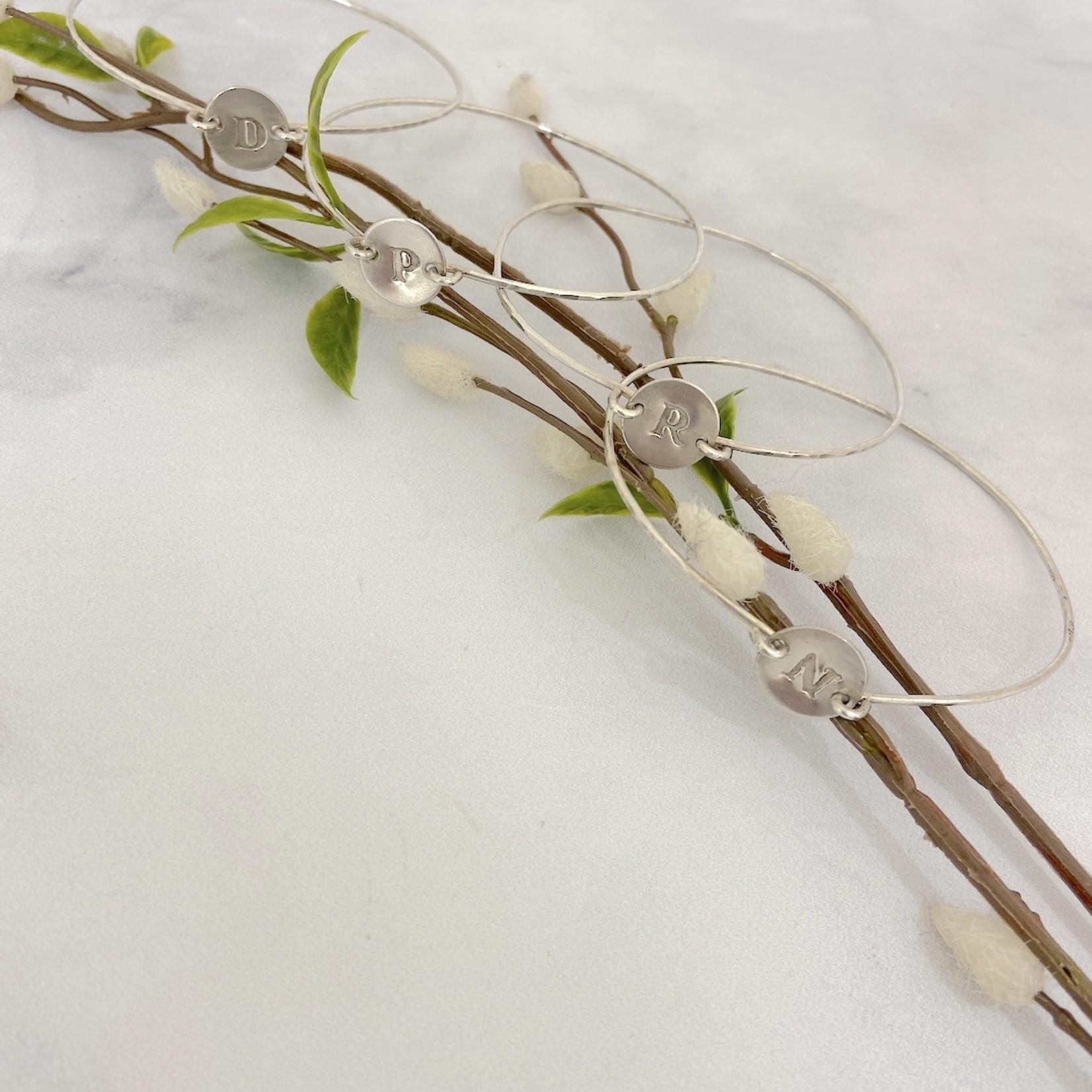 Handmade Silver Initial Token Bangle