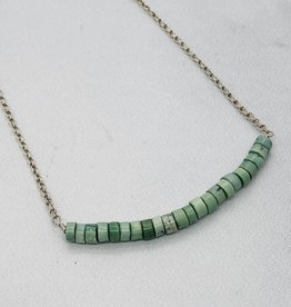 Handmade Sterling Silver Necklace with Row of Turquoise Discs