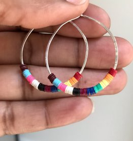 ARTAYA African Music Vinyl Beaded Hoop Earrings