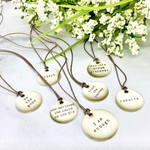 "Lithograph Mini Type Word Pendant on 16"" Cord Necklace"