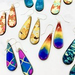 Colorful wood teardrop earring