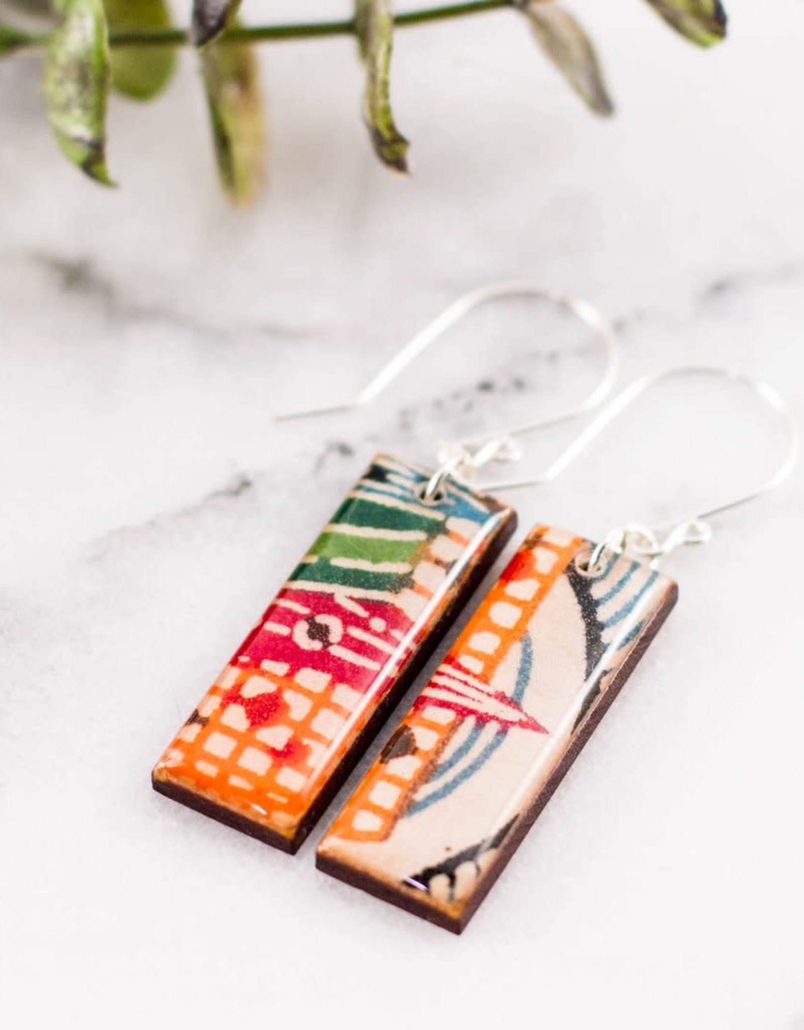 Long Rectangular Paper & Wood Earrings