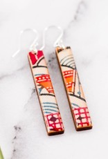 Colorful Long Bar Paper & Wood Earrings