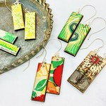 Rectangular Paper & Wood Earrings