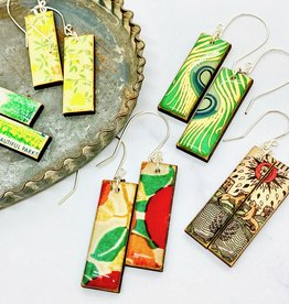 Rectangular Paper & Wood Earrings