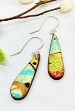 Petite Teardrop Colorful Paper and Wood Earrings