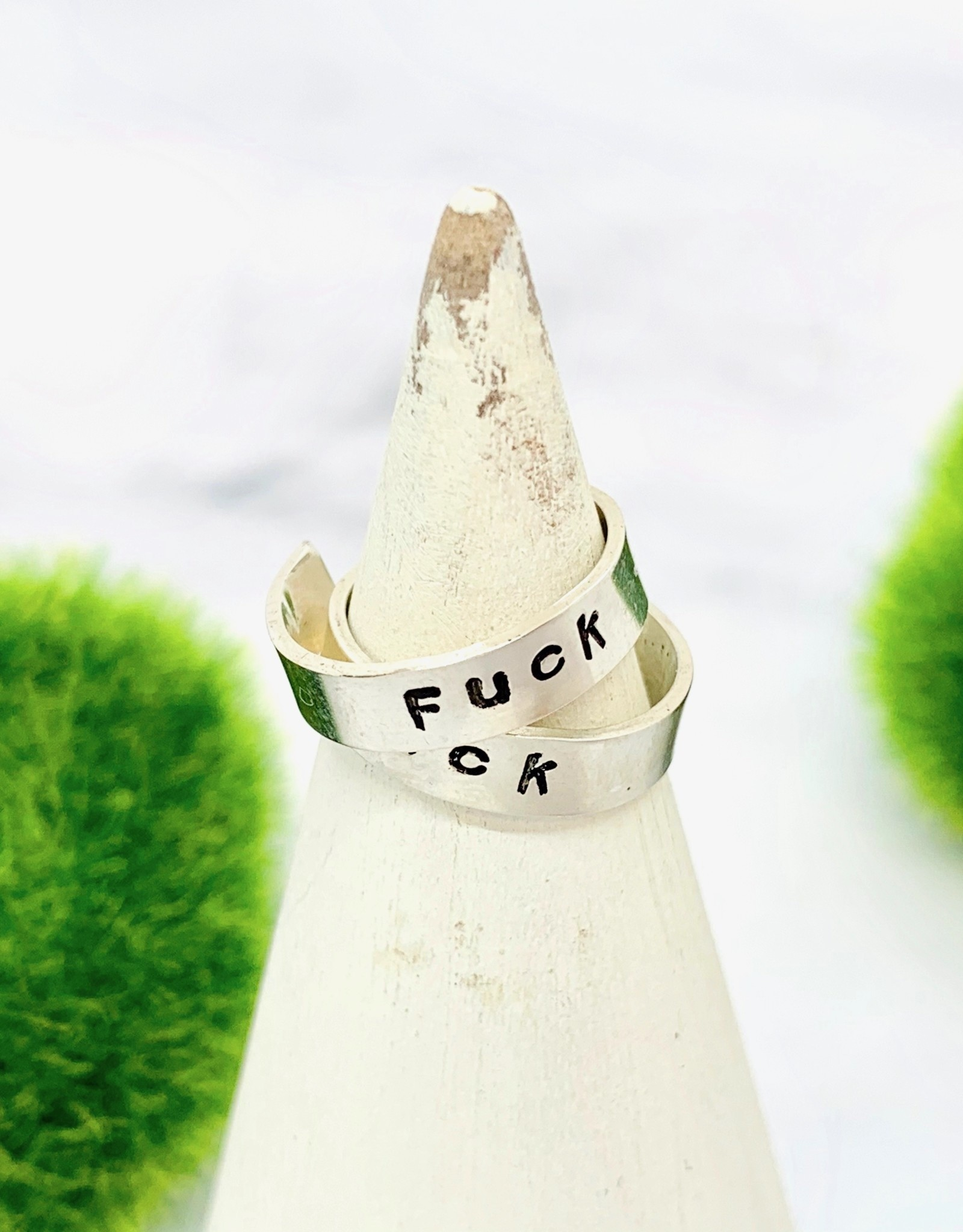 Handstamped Silver Toe Ring
