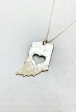 Handstamped Hammered Heart Indiana Necklace 2