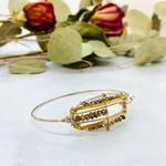 Handmade Bangle Bracelet with Pyrite Plaid