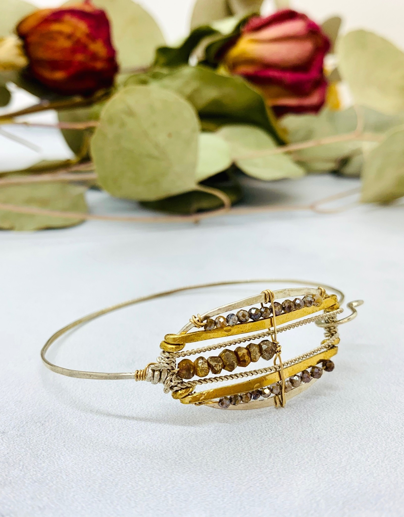 Handmade Bangle Bracelet with Pyrite Plaid Handformed brass and Sterling Silver Marquis Shape.