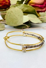 """Handmade pyrite, iolite hand formed sterling silver and brass channel 7""""bracelet"""