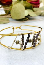 "Handmade pyrite,moonstone beaded hand formed sterling silver and brass 7"" bracelet"