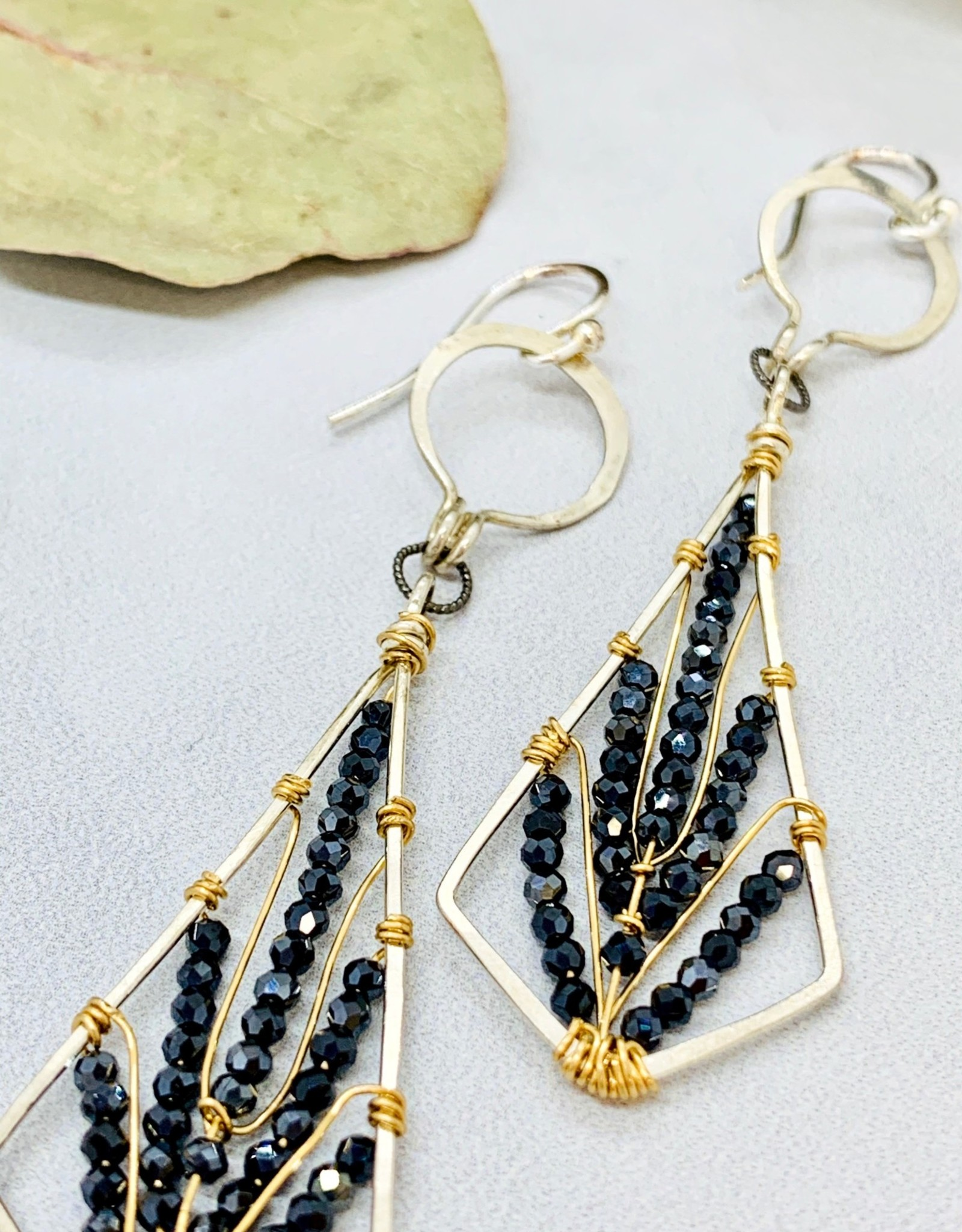 Handmade black spinel tiny faceted gems woven on gold-filled and oxidized sterling silver diamond earrings