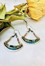 Handmade Apatite, Green Zoisite, Pyrite beads on handformed sterling silver Fan Shapes Earrings