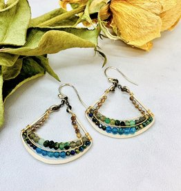 Handmade Apatite, Green Zoisite, Pyrite beads on handformed sterling silver Fan Shapes Earrings
