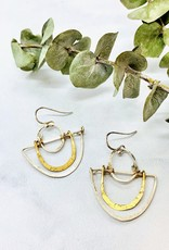 Handmade hand formed brass and sterling silver semi circle moon earrings